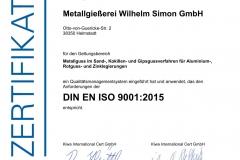 Zertifikat_Metallgießerei Wilhelm Simon_2018